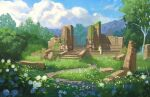 1girl blonde_hair clouds commentary dress english_commentary flower grass joanne_tran long_dress nature outdoors pillar plant ruins scenery sitting stairs the_legend_of_zelda the_legend_of_zelda:_breath_of_the_wild tree very_wide_shot white_dress white_flower