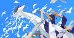 aomidori_iro black_eyes closed_mouth commentary day fang flying gen_2_pokemon gen_3_pokemon highres legendary_pokemon lugia no_humans outdoors pokemon pokemon_(creature) skin_fang sky wingull