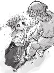 2girls aikidou bangs blunt_bangs clover_hair_ornament collarbone commentary_request dokidoki!_precure double_bun dougi from_above greyscale hair_ornament highres karate karate_gi kenzaki_makoto martial_arts monochrome motion_lines multiple_girls open_mouth pre221b precure scared short_hair simple_background throwing_person white_background yotsuba_alice