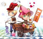 2boys :3 afk animal_ear_headwear axe backpack bag bangs belt blacksmith_(ragnarok_online) blonde_hair blue_eyes blue_pants blush brown_belt brown_capelet brown_footwear brown_gloves cape cart checkered checkered_floor chibi commentary_request cupcake emoticon eyebrows_visible_through_hair fingerless_gloves food fork full_body gloves green_eyes hat hat_feather heart holding holding_axe holding_fork iced_tea jack-o'-lantern looking_at_another looking_back male_focus multiple_boys mushroom nip_sakazuki open_mouth pancake pants pink_headwear plate poring pouch pumpkin ragnarok_online red_headwear red_shirt shako_cap shirt shoes short_hair short_sleeves sitting sleeveless sleeveless_shirt slime_(creature) spore_(ragnarok_online) standing star_(symbol) sweatdrop vial white_background white_cape white_shirt wizard_(ragnarok_online) wizard_hat
