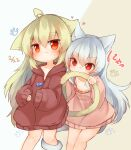 2girls ahoge animal_ears biting blue_hair brown_hair brown_jacket cat_ears cat_girl cat_tail commentary_request ears_touching highres jacket long_hair multiple_girls naked_jacket naked_sweater no_pants original pink_sweater red_eyes sunapua sweater tail tail_biting tail_grab tail_wrap yuri