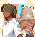 1boy 1girl back-to-back bangs blonde_hair blunt_bangs brown_eyes brown_hair brown_headwear commentary cookie_(touhou) cross cross_necklace dark_sauce dress eyebrows_visible_through_hair go_(inmu) hair_tie hat highres jewelry kaibara_elena_(cookie) long_tongue looking_at_viewer looking_to_the_side manatsu_no_yo_no_inmu medium_hair moriya_suwako necklace open_mouth purple_dress red_eyes shirt smile swept_bangs t-shirt tan tongue tongue_out touhou turtleneck upper_body white_shirt