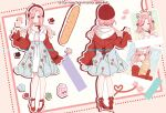 1girl ^_^ baguette beret bread breasts character_sheet closed_eyes english_commentary floral_print food hat heart holding holding_food lili/nadenade long_hair medium_breasts medium_hair multiple_views nini_yuuna off_shoulder official_art open_hand pink_eyes pink_hair red_headwear red_sweater second-party_source smile sweater tsunderia twintails