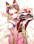 absurdres andou_inari animal_ears birthday birthday_cake bow cake carrot_cake choumi_wuti_(xueye_fanmang_zhong) figure flower food fox_ears fox_girl fox_tail fur hair_flower hair_ornament highlights highres japanese_clothes joints kimono long_hair multicolored_hair nijisanji orange_hair red_eyes robot_joints tail virtual_youtuber virtuareal white_background white_hair