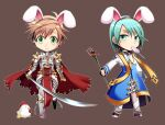 2boys animal_ears archbishop_(ragnarok_online) armor armored_boots bangs belt bird black_hairband blue_coat boots breastplate brown_background brown_hair candy cape chainmail chibi chick chicken choker closed_mouth coat commentary_request cross eyebrows_visible_through_hair fake_animal_ears food full_body gauntlets green_eyes green_hair hairband holding holding_staff holding_sword holding_weapon katana leg_armor lollipop looking_to_the_side male_focus multiple_boys nip_sakazuki pants pauldrons rabbit_ears ragnarok_online red_cape rune_knight_(ragnarok_online) short_hair shoulder_armor simple_background smile spiked_pauldrons staff standing sword tabard torn_cape torn_clothes two-tone_coat weapon white_coat white_pants
