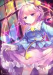1girl absurdres closed_mouth commentary_request contrapposto cowboy_shot curtsey dutch_angle eyeball floral_print heart highres holding holding_clothes holding_skirt kanzakietc komeiji_satori looking_ahead pink_eyes pink_hair short_hair skirt smile solo standing third_eye touhou