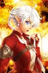alisaie_leveilleur blue_eyes blush breasts check_commentary chest_belt commentary commentary_request earrings elezen elf final_fantasy final_fantasy_xiv fingerless_gloves gloves hair_ornament highres jacket jewelry lips open_collar open_mouth pointy_ears ponytail small_breasts torso torso_only white_hair you_haruka