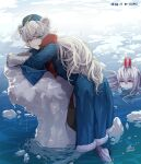 2girls absurdres animal_ears arknights artist_name bear_ears blue_eyes bubble closed_mouth cola commentary crying garrison_cap hat heterochromia highres iceberg long_hair looking_at_viewer multiple_girls object_on_head partially_submerged red_eyes robe rosa_(arknights) shoes skadi_(arknights) very_long_hair white_hair y0ung