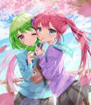 2girls :o bangs black_skirt blue_eyes blue_sweater blush box cherry_blossoms commission drinking_straw eyebrows_visible_through_hair green_hair highres holding holding_box juice_box koyubita leaning_on_person long_hair long_sleeves looking_at_viewer miniskirt multiple_girls one_eye_closed original petals pink_hair purple_sweater short_hair signature skeb_commission skirt sky standing sweater twintails very_long_hair violet_eyes