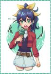1girl bangs belt belt_buckle blue_hair blush bow bracelet brown_belt buckle byoru cowboy_shot cropped_legs eyebrows_visible_through_hair food green_eyes hair_between_eyes hair_bow high_ponytail highlights holding holding_food ice_cream jacket jewelry long_hair long_sleeves miniskirt multicolored_hair open_clothes open_jacket open_mouth red_jacket serena_(yu-gi-oh!) shiny shiny_hair sidelocks skirt solo striped_border white_background white_skirt yellow_bow yu-gi-oh! yu-gi-oh!_arc-v