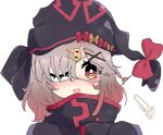 1girl arknights bangs black_headwear black_jacket blush bow braid brown_bow brown_hair commentary eyebrows_visible_through_hair eyepatch hair_ornament hair_over_one_eye hairclip high_collar jacket kurotofu looking_at_viewer open_mouth popukar_(arknights) portrait red_bow red_eyes simple_background solo white_background x_hair_ornament