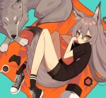 1girl absurdres animal_ears bangs black_shirt black_shorts coffee controller converse cup game_controller ghost_(tama) grey_hair hair_between_eyes highres long_hair looking_at_viewer lying mug on_side one_eye_closed original shirt short_shorts shorts solo tail wolf wolf_ears wolf_girl wolf_tail xbox_controller
