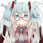 1girl bangs bare_shoulders bespectacled blue_eyes blue_hair blue_neckwear breasts closed_mouth collared_shirt cropped_torso detached_sleeves dress_shirt eyebrows_visible_through_hair finger_to_eyewear glasses gradient_hair grey_shirt hair_between_eyes hatsune_miku highres light_blue_eyes light_blue_hair long_hair looking_at_viewer medium_breasts multicolored_hair necktie red-framed_eyewear shirt simple_background sleeveless sleeveless_shirt smile solo twintails ukikuchannme vocaloid white_background
