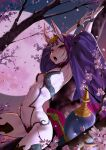 1girl absurdres arched_back armpits arms_up breasts cherry_blossoms disto eyeshadow fate/grand_order fate_(series) full_moon gourd headpiece highres horns in_tree makeup moon navel night oni oni_horns open_mouth petals pink_moon purple_hair revealing_clothes short_hair shuten_douji_(fate) signature sitting sitting_in_tree skin-covered_horns small_breasts solo tongue tongue_out tree violet_eyes wide_sleeves