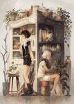 2girls artist_name black_hair black_legwear black_pants black_shirt blanket book bottle bread cabinet candle closed_eyes closed_mouth commentary_request crystal cup dark_skin food fried_egg goblet highres jewelry lizard multiple_girls necklace original pants plant quill rabbit shirt sitting skull standing vase watering_can white_hair white_legwear white_pants white_shirt yoshioka_(haco)