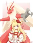 1girl absurdres blaziken blonde_hair crossover dated detached_sleeves gen_3_pokemon granblue_fantasy hair_ribbon hand_up hat hat_feather highres holding holding_poke_ball klaius long_hair long_sleeves looking_at_viewer mahira_(granblue_fantasy) parted_lips pointy_ears poke_ball poke_ball_(basic) pokemon pokemon_(creature) red_eyes red_headwear red_ribbon ribbon standing twitter_username