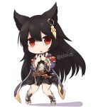 1girl absurdres animal_ears black_hair black_skirt boots chibi coat granblue_fantasy highres klaius long_hair long_sleeves looking_at_viewer miniskirt nier_(granblue_fantasy) open_clothes open_coat own_hands_together parted_lips purple_coat red_eyes simple_background skirt solo standing twitter_username white_background wide_sleeves