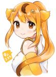 1girl animal_ears bare_shoulders blonde_hair blush circlet elbow_gloves gloves golden_snub-nosed_monkey_(kemono_friends) high_collar highres kemono_friends long_ponytail looking_at_viewer monkey_ears monkey_girl orange_eyes over_shoulder shirt sleeveless smile solo suicchonsuisui white_shirt