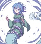 1girl absurdres bangs blue_eyes blue_hair drill_locks eyebrows_behind_hair frilled_kimono frills green_kimono head_fins highres japanese_clothes kame_(kamepan44231) kimono long_sleeves looking_at_viewer mermaid monster_girl open_mouth purple_sash sash solo touhou wakasagihime white_background wide_sleeves