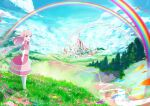 1girl :d blue_bow blush bow castle clouds cloudy_sky commentary day dress field floating_hair flower flower_field flower_request frilled_dress frills grass hair_bow itouchaba kneehighs long_hair looking_back open_mouth original outdoors petals pink_capelet pink_dress pink_eyes pink_hair rainbow river scenery sky smile solo standing stream tree white_legwear wind