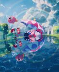 adeleine black_hair blue_eyes blue_sky bronto_burt clouds cloudy_sky dress fairy_wings galbo_(kirby) gooey heart highres hill kirby kirby_(series) looking_up pink_hair puddle rain rainbow red_dress red_headwear ribbon_(kirby) sky smile star_(symbol) suyasuyabi umbrella wings