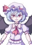 1girl absurdres ascot bangs bat_wings black_neckwear black_ribbon choker eyebrows_behind_hair hair_between_eyes hat hat_ribbon highres kame_(kamepan44231) light_blue_hair looking_at_viewer mob_cap open_mouth pink_headwear pink_shirt pink_skirt puffy_short_sleeves puffy_sleeves red_eyes red_neckwear red_ribbon remilia_scarlet ribbon ribbon_choker shirt short_hair short_sleeves simple_background skirt smile solo standing touhou white_background wings