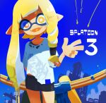 1girl :d arm_behind_back asymmetrical_hair bangs bike_shorts blonde_hair blue_sky blunt_bangs bow_(weapon) bright_pupils clear_sky day domino_mask eyebrows_behind_hair eyes_visible_through_hair facing_viewer fangs hc2002 highres inkling long_hair looking_at_viewer mask no_nose octopus open_mouth outdoors pointy_ears shirt skin_fangs sky smile solo splatoon_(series) splatoon_3 squid t-shirt tentacle_hair torn_clothes torn_shirt weapon white_pupils white_shirt yellow_eyes