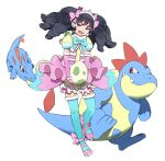 1girl :d black_eyes black_hair blue_bow blue_legwear blue_ribbon bow commentary_request croconaw detached_sleeves dress drill_hair elbow_gloves fang garuru_(pripara) gen_2_pokemon gloves green_eyes headband open_mouth orihika pink_bow pink_dress pink_gloves pokemon pokemon_(creature) pokemon_egg pretty_(series) pripara puffy_shorts puffy_sleeves red_eyes ribbon shoes shorts simple_background smile standing thigh-highs totodile white_background