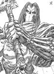 apoloniodraws darksiders highres holding holding_weapon lineart looking_at_viewer mask medium_hair nipples scarf scythe skull skull_mask weapon