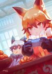 2girls animal_ears black_hair black_neckwear blue_jacket bow bowtie brown_fur brown_gloves brown_hair commentary_request controller eating extra_ears eyebrows_visible_through_hair ezo_red_fox_(kemono_friends) food fox_ears fox_girl fruit fur_trim game_controller gloves highres jacket kemono_friends long_hair long_sleeves multicolored_hair multiple_girls necktie orange orange_eyes orange_hair orange_jacket orange_neckwear orange_slice otsuzaka silver_fox_(kemono_friends) silver_hair white_neckwear