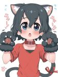 1girl alternate_costume animal_ears black_hair blue_eyes blush bow cat_ears cat_girl cat_tail claw_pose collar commentary_request extra_ears eyebrows_visible_through_hair flying_sweatdrops gloves highres kaban_(kemono_friends) kemono_friends kemonomimi_mode no_hat no_headwear paw_gloves paws ransusan red_bow red_collar red_shirt shirt short_hair short_sleeves solo t-shirt tail tail_bow tail_ornament translation_request upper_body