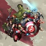 2girls 6+boys android avengers avengers:_infinity_war black_hair black_widow blue_eyes bodysuit bow_(weapon) breasts brown_hair captain_america dual_wielding english_commentary floating glowing glowing_eyes glowing_hand hair_behind_ear hammer hawkeye_(marvel) holding holding_bow_(weapon) holding_hammer holding_shield holding_weapon hulk iron_man jessada-art lightning logo marvel medium_breasts mjolnir multiple_boys multiple_girls muscular muscular_male open_hand power_armor quicksilver running scarlet_witch shield shirtless sunglasses superhero thor_(marvel) vision_(marvel) weapon white_hair yellow_eyes