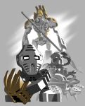 3boys absurdres armor bionicle crab gears gold_armor highres jaller_(bionicle) jeetdoh lego mask multiple_boys pewku_(bionicle) pincers riding sitting staff standing takanuva_(bionicle) takua_(bionicle) the_lego_group weapon yellow_eyes