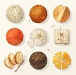 bread cake cake_slice cheese commentary food knife no_humans original yoshioka_(haco)