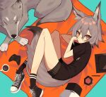 1girl absurdres animal_ears bangs black_shirt black_shorts coffee controller converse cup game_controller ghost_(tama) grey_hair hair_between_eyes highres looking_at_viewer lying mug on_side one_eye_closed original shirt short_hair short_shorts shorts solo tail wolf wolf_ears wolf_girl wolf_tail xbox_controller