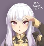 1girl bangs blush dated fire_emblem fire_emblem:_three_houses hand_up klaius long_hair long_sleeves looking_at_viewer lysithea_von_ordelia military military_uniform parted_lips pink_eyes signature solo twitter_username uniform upper_body white_hair
