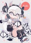 1girl 2021 amezawa_koma animal_ears animal_print black_hair black_legwear black_shorts black_sleeves collared_shirt cow_ears cow_horns cow_print cow_tail cross-laced_footwear dolphin_shorts domino_mask drinking_straw fake_animal_ears fake_horns fang food fruit grey_eyes grey_sweater highres holding holding_weapon horns ink_tank_(splatoon) inkling jellyfish long_sleeves looking_at_viewer mask multicolored_hair necktie new_year open_mouth orange pink_neckwear pointy_ears print_footwear shirt shoes short_hair short_shorts short_twintails shorts silver_hair sitting sneakers socks splat_bomb_(splatoon) splatoon_(series) splatoon_2 splattershot_jr_(splatoon) sweater sweater_vest tail tentacle_hair twintails two-tone_hair v-neck weapon white_footwear