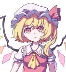 1girl absurdres ascot bangs blonde_hair closed_mouth crystal eyebrows_behind_hair flandre_scarlet hat hat_ribbon highres kame_(kamepan44231) looking_at_viewer medium_hair mob_cap red_eyes red_ribbon red_shirt ribbon shirt short_sleeves side_ponytail simple_background solo touhou upper_body white_background white_headwear wings yellow_neckwear