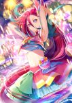 1girl absurdres armpits bangs blue_hair bow closed_mouth cowboy_shot crop_top cure_flamingo fireworks hair_between_eyes highres layered_skirt long_hair looking_at_viewer magical_girl midriff multicolored_hair orange_bow pouch precure red_skirt redhead skirt smile solo standing star_(symbol) streaked_hair takizawa_asuka tropical-rouge!_precure two-tone_hair violet_eyes water wet white_skirt yuutarou_(fukiiincho)
