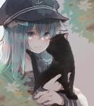 1girl anchor_symbol animal animal_ears black_cat blue_eyes blue_headwear blush cat cat_ears cat_girl closed_mouth commentary_request crying crying_with_eyes_open eyebrows_visible_through_hair flat_cap flower hair_between_eyes hat hibiki_(kancolle) holding holding_animal kantai_collection long_hair long_sleeves looking_at_viewer neckerchief red_neckwear ruohire9 school_uniform serafuku shirt silver_hair tears white_shirt yellow_flower