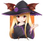 1girl :p black_dress black_headwear blonde_hair border closed_mouth commentary dated dress granblue_fantasy halloween halloween_costume hand_up hat head_wings head_wings_through_headwear highres klaius long_hair looking_at_viewer orange_background pointy_ears red_eyes smile solo tongue tongue_out twitter_username upper_body vampy white_border wide_sleeves witch_hat