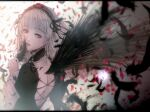 1girl back bangs black_feathers black_wings blunt_bangs bonnet choker eyebrows_visible_through_hair eyelashes feathered_wings feathers floating_hair frilled_sleeves frills from_behind gothic_lolita hairband holding holding_feather lolita_fashion lolita_hairband looking_back petals red_eyes ribbon rose_petals rozen_maiden sad satsuki_kei silver_hair solo suigintou wide_sleeves wings