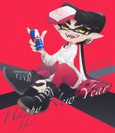 +_+ 1girl 2021 bangs black_footwear black_hair callie_(splatoon) can commentary_request domino_mask earrings english_commentary english_text fangs food food_on_head gradient_hair happy_new_year highres holding holding_can jewelry logo_parody long_hair looking_at_another mask mole mole_under_eye multicolored_hair new_year object_on_head off-shoulder_sweater off_shoulder okome_2g2g open_mouth pantyhose pointy_ears purple_legwear red_background red_bull redhead shirt_straps shoes sitting smile sneakers solo splatoon_(series) straight-laced_footwear sushi sweater swept_bangs tentacle_hair twitter_username very_long_hair white_sweater yellow_eyes