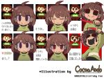 bangs black_eyes brown_hair chara_(undertale) closed_eyes closed_mouth frown green_shirt hair_between_eyes hand_up holding holding_knife holding_weapon hole_in_face houten_(dre_a_mer) knife looking_at_viewer melting open_mouth pixel_art red_eyes ringed_eyes shirt short_hair smile undertale upper_body weapon white_background