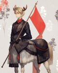 1boy antlers black_flower black_shirt brown_eyes brown_hair centaur closed_mouth commentary_request flower holding original red_flag red_flower shirt solo white_flower yoshioka_(haco)