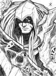 apoloniodraws armor darksiders greyscale highres hood lineart looking_at_viewer monochrome scar scar_across_eye scarf scythe signature skull weapon