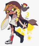 1girl 3 :3 asymmetrical_bangs asymmetrical_hair bangs bike_shorts blonde_hair boots braid closed_mouth domino_mask full_body highres inkling knee_boots leg_up long_hair mask multicolored_footwear number paint_splatter ponpeex salmonid shirt short_sleeves simple_background single_braid single_vertical_stripe smallfry_(splatoon) smile solo_focus splatoon_(series) splatoon_3 suction_cups t-shirt tentacle_hair very_long_hair white_background white_shirt yellow_eyes