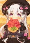 1girl absurdres bangs beret black_bow black_dress black_gloves black_headwear blush bouquet bow commentary_request covered_mouth doll_joints dress elbow_gloves eyebrows_visible_through_hair fate/extra fate_(series) flower gloves hair_between_eyes hair_bow hat highres holding holding_bouquet joints long_hair nursery_rhyme_(fate) outdoors puffy_short_sleeves puffy_sleeves red_flower short_sleeves silver_hair solo striped striped_bow sunset twitter_username very_long_hair violet_eyes yuya090602