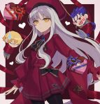 1girl 2boys anger_vein bangs beret black_legwear blonde_hair blue_hair box breasts brooch caren_hortensia caren_hortensia_(amor_caren) chibi child_gilgamesh_(fate) closed_eyes cu_chulainn_(fate)_(all) dress fate/grand_order fate/hollow_ataraxia fate/stay_night fate_(series) gift gift_box hat heart-shaped_box jewelry lancer long_hair long_sleeves looking_at_viewer multiple_boys neck_ribbon outstretched_arm pantyhose ponytail red_dress red_eyes red_headwear red_ribbon ribbon shawl short_hair small_breasts thighs wavy_hair white_hair yellow_eyes yosimurarisa