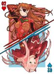 2girls apoloniodraws armor arms_behind_head blue_eyes brown_hair card darling_in_the_franxx eyepatch finger_to_mouth green_eyes highres horns looking_at_viewer mecha multiple_girls neon_genesis_evangelion pink_hair playing_card upside-down zero_two_(darling_in_the_franxx)
